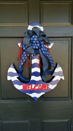 This item is unavailable - Painted wooden anchor, nautical decor, wood anchor, unfinished wooden anchor, decorative front door - Anchor Wreath, Nautical Wreath, Nautical Party, Beach Crafts, Summer Crafts, Diy And Crafts, Arts And Crafts, Anchor Painting, Anchor Crafts
