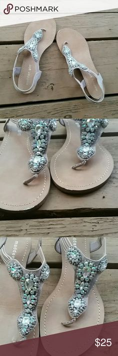 Madden Girl Rhinestone Sandals Embellished sandals, worn for a handful of times on one weekend getaway :) Madden Girl Shoes Sandals