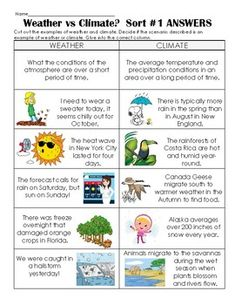 Climate vs Weather Notes, Application and Sorting Activity Teaching Weather, Weather Science, Weather Activities, Sorting Activities, Vocabulary Activities, Autism Activities, Science Activities, Social Studies Worksheets, Science Worksheets