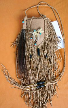 Native Spirit Horse Totem Leather Bead Medicine by JillClaireArt, $240.00