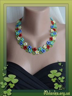 Free flower beaded necklace pattern featured in bead patterns com newsletter Beaded Necklace Patterns, Seed Bead Patterns, Beading Patterns, Loom Patterns, Bracelet Patterns, Beaded Bracelet, Seed Bead Necklace, Seed Bead Jewelry, Bead Jewellery