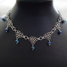 Silver & Blue Sea Sediment Chain Mail Necklace -Stainless Steel Chainmail Maille