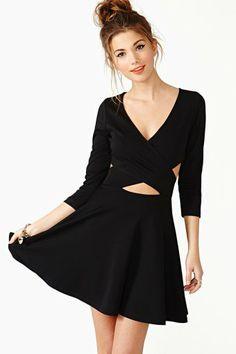 Black dress cross front