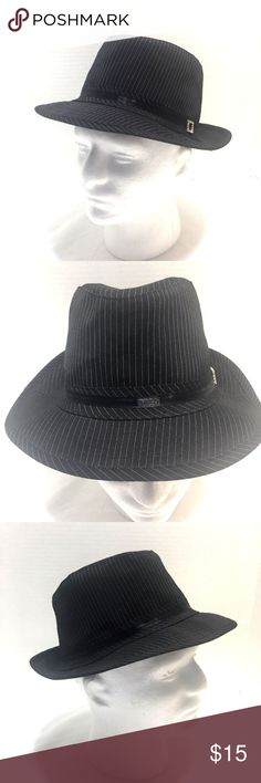 Black Pinstripe Cuban Style Short Brim Fedora Hat Black White Pinstripe Fedora Style Hat with Silver Rhinestone Decoration      One Size Fits All      Shell is 92% Polyester, 6% Spandex, 2% Other Fiber     Lining is 65% Polyester, 35% Cotton  Hat is pre-owned but doesn't look worn Unknown Accessories Hats
