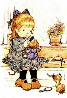 Sarah Kay her doll and her kitty Holly Hobbie, Vintage Girls, Vintage Children, Vintage Art, Decoupage Vintage, Mary May, Creation Art, Dibujos Cute, Illustrations