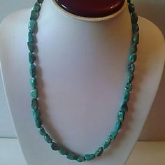 Turquoise green blue  necklace . Silver tone.good condition. Jewelry Necklaces