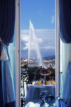 Dinnertime views on point. Hotel d'Angleterre Geneva (Geneva, Switzerland) - Jetsetter