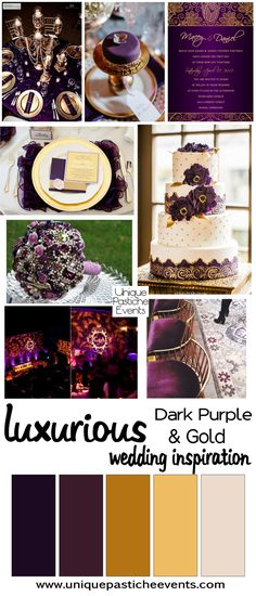 Dark Purple and Gold Luxurious Wedding Ideas Inspiration by Unique Pastiche Events