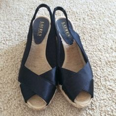Lauren by Ralph Lauren Camara Slingback Espadrille These shoes are very cute and comfortable. Bottoms have some wear but the top satin is in excellent condition. Make me an offer! Ralph Lauren Shoes Espadrilles