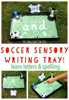 Soccer sensory writing tray; literacy activity for kids!