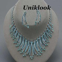 Sparkling Blue Crystal Silver Collar Bib Necklace Set Elegant Costume Jewelry