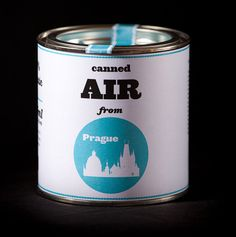 """""""We carefully collect the air from the most popular places in the city."""" Canned air from Prague"""