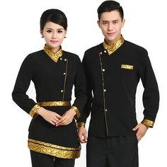Hasil gambar untuk uniformes para lanchonetes e restaurantes elegantes Waiter Uniform, Spa Uniform, Hotel Uniform, Uniform Shop, Uniform Shirts, Kellner Uniform, Chef Dress, Batik Fashion, Cheongsam Dress