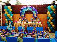 Pinatas Couture's Birthday / Jasmine & Aladdin - Photo Gallery at Catch My Party Jasmin Party, Princess Jasmine Party, Baby First Birthday, First Birthday Parties, Girl Birthday, Aladdin Party, Disney Princess Birthday Party, Arabian Nights Party, Birthday Supplies
