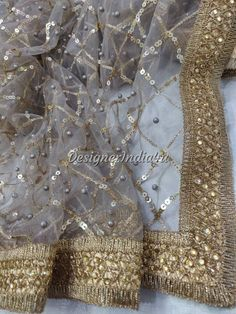 Wedding Bridal Designer Gray Lace Dupatta Chunni Stole Scarves Embroiderd Net for Lehenga Suit Salw Bridal Dupatta, Bridal Mehndi Dresses, Desi Wedding Dresses, Indian Bridal Outfits, Wedding Wear, Hand Embroidery Dress, Embroidery Suits Design, Stylish Dress Designs, Stylish Dresses