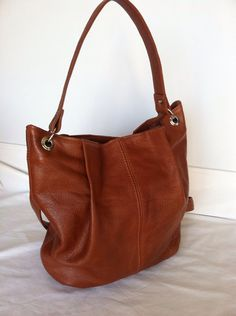 Genuine Tan brown leather Hobo Purse Bag Handbag Handmade Zuly on Etsy, $106.99