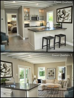Neutral grey tones for Guest Quarters which include Bed and Bath | Kitchenette | Living Room | Shutterbug Studios-TAP
