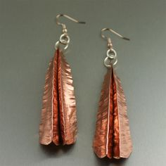 Exotic and simply stunning! These #Fold #Formed Chased #Copper Leaf #earrings are sure to be a hit. $165