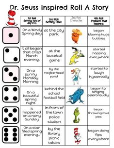 Seuss Inspired Roll-A-Story!just idea- not paying Dr. Seuss, Dr Seuss Week, Dr Seuss Activities, Book Activities, Sequencing Activities, Dr Suess Games, Teaching Resources, Birthday Activities, Roll A Story