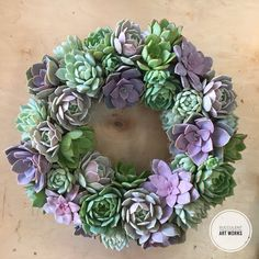 """Succulent Wreath, 18"""" Ashley Wreath, Wedding Day Wreath, Housewarming Gift, Birthday Gift, Valentine Gift, Mothers Day gift, Client gift by SucculentArtWorks on Etsy https://www.etsy.com/listing/249750575/succulent-wreath-18-ashley-wreath"""