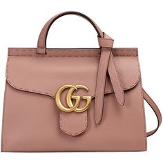 Gucci GG Marmont Small Top-Handle Satchel Bag (€2.030) ❤ liked on Polyvore featuring bags, handbags, taupe, shoulder bag purse, taupe purse, gucci, zipper purse and zipper handbag