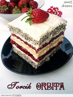 Torcik ORBITA Składniki na biszkopt makowy: - 3 jaja… na Stylowi.pl Polish Desserts, Polish Recipes, No Bake Desserts, Delicious Desserts, Baking Recipes, Cake Recipes, Dessert Recipes, Baking Cupcakes, Cupcake Cakes