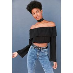 Silence + Noise Cecilia Ruffle Off-The-Shoulder Top (65 CAD) ❤ liked on Polyvore featuring tops, boho crop top, blue top, off shoulder tops, crop top and off-the-shoulder ruffle tops