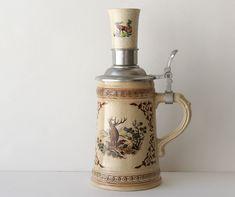 Vintage Beer Stein Mug 1/2 Liter Shot Glass Elk Wild Life Scene Man Cave