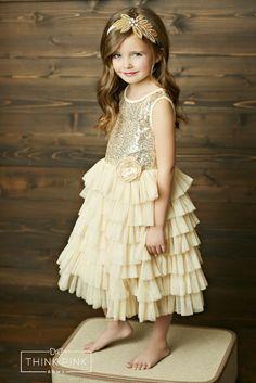 J'adore  Dress #all-dresses #dress #Dresses  Gold Sequin dress for little girls. Ruffled Tulle. Flower Girl Dress
