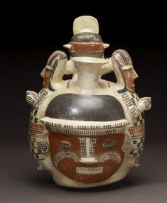 Northern Peru's pottery traditions focus on three-dimensionality, the vessels often modeled into a variety of volumetric forms depicting human figures, fruits, or vegetables and even architecture. The coastal Moche and their highland Recuay neighbors were masters of the modeled form, having explored and perfected this tradition whose origins reach back as much as a thousand years among cultures of the Early Horizon (900 -200 BCE