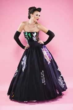 This lady turns tshirts into ball gowns, party dresses, corset tops, among other items. Pricey but cool. I'm sure someone here on Pinterest could figure out the strategy & make it a DIY project.
