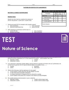 This is a 4-page unit test for a typical middle school science unit on the nature of science and experimental design. This test is designed to take the average science student 35-45 minutes