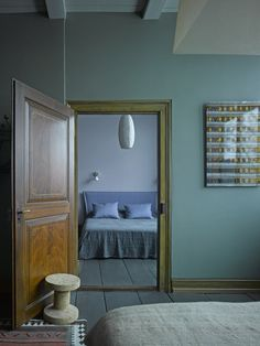 40 Shades of Gray: Unexpected Color in the Swiss Alps: Berdorf Chalet Bernese Oberland Bedroom Blue