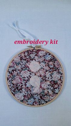 """Baby Pink and Floral Semicolon Embroidery Cross Stitch KIT 6"""" hanging mental health awareness gift"""