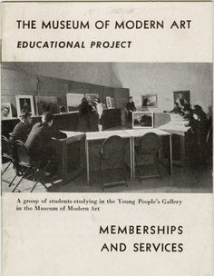 "Victor D'Amico's papers are now available at MOMA! #mused #arted Cover of the brochure, ""The Museum of Modern Art Educational Project: Memberships and Services,"" with cover reproduction of, ""A group of students studying in the Young People's Gallery in the Museum of Modern Art""; c. 1940, published by The Museum of Modern Art. Archives Pamphlet Files: Educational Project. The Museum of Modern Art Archives, New York. © The Museum of Modern Art, New York"