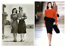 The image on the left is an original example of 1940's style of women's dresses. During this time period it was common to have broad shoulders and tiny waistlines. Fuller hips and shorter skirts were also all the rage in the 1940's. The example to the right resembles the original styles in a modern way. The use of shoulder pads and a blouse/skirt combo as an outfit is very reflective to this time. Knee length skirts and heels also show how women in the 1940s dressed. 2.29.16