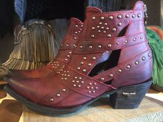 STUDS & STRAPS –REd Distressed redleather ankle shortie with…
