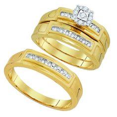 10K Yellow Gold 0.25 Ctw Diamond Fashion Trio Set Ring 8.69g: Ring