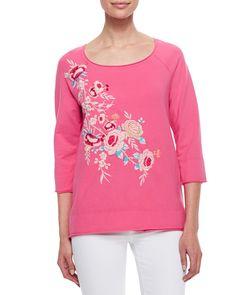 JWLA for Johnny Was Sawyer Embroidered 3/4-Sleeve Sweatshirt