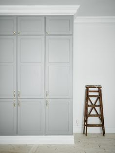 Paint Cabinet Gray for Laundry Room - Linen Closet in Laundry Room - Floor to Ceiling Cabinet