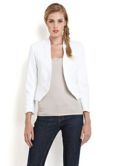 LOVE...ADY White Open Front Blazer
