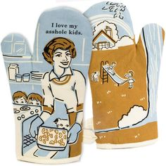 Blue Q I Love My Asshole Kids. Oven Mitt House Gifts Our disarming and charming, I Love My Asshole Kids. Oven Mitt will hold a special place in your heart, just like you kiddos do, while allowing you to hold hot items! Kids Oven, Mommy Loves You, Funny Greeting Cards, House Gifts, Happy Fun, White Elephant Gifts, Kids Cards, Mom Humor, June Cleaver