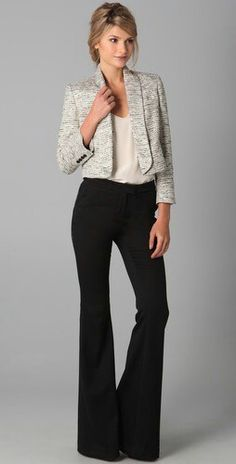 SS 2015 Outfit for Work. Black Loose Pants, Nude Blouse & Gray Custome Tweed Jacket