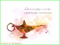 * Available in sizes 10 x 8 inches — x 203 mm) x inches — mm x 210 mm) For sale directly from the artist Original Art Print Aladdin inspired quote illustration created using mixed media and a modern design Like so many things, it's not what Disney Kunst, Art Disney, Disney Love, Disney Mickey, Mickey Mouse, Disney Princess Quotes, Disney Movie Quotes, Disney Aladdin Quotes, Watercolor Quote
