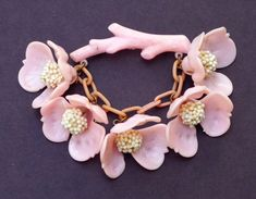 Vintage Celluloid Cherry Blossom Brooch 1930s by WhirleyShirley, $24.00