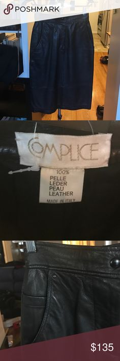 Vintage RARE Complice leather pencil skirt Vintage RARE Complice black leather pencil skirt. There are an extremely limited number of pieces available by this Italian designer label. Gianni Versace designed for them in the 70's! Mint condition. It is sized as 38 which is a 2US. amazing buttery soft leather and unique pocket detail. Snap button zip front closure. Complice Skirts Pencil