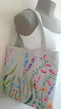 Mother's Day Gift Tote Bag Embroidered with Cross Stitch - Medium Size - Shoulder Bag - Decorative Bag - Pink Purple Green and Blue Shades Cross Stitch Rose, Cross Stitch Kits, Cross Stitch Designs, Cross Stitching, Cross Stitch Embroidery, Lavender Bags, Diy Tote Bag, Embroidery Bags, Crochet Cross