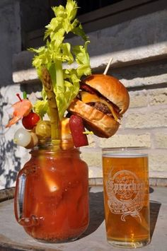 I think my  Bloody Mary's have finally been trumped.  I never thought to put a cheeseburger in it.  Lol....