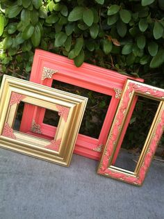Coral Frames, Set of 3, Coral and Gold frames, Vintage frames, Wide,Chunky Frame, Gold decor, Coral decor , Wedding frames (Los Angeles)