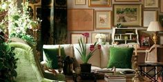 decordesignreview:  A look at Charlotte Moss' room ~ the pops of green and art wall